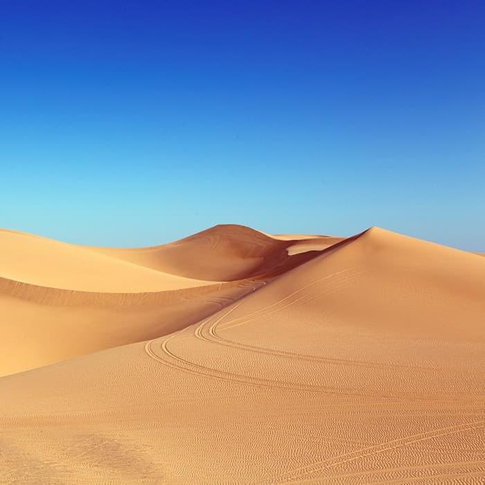 dry desert blue skies